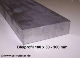 080 Bleiprofil Vierkant 100 x 30 - 100 mm - Bild vergrößern