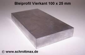 075 Bleiprofil Vierkant 100 x 25 - 100 mm - Bild vergrößern